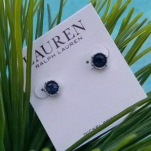 RALPH LAUREN Sapphire Blue Gem Stud Earrings New!